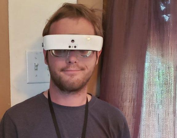 Jesse Johnson wearing eSight