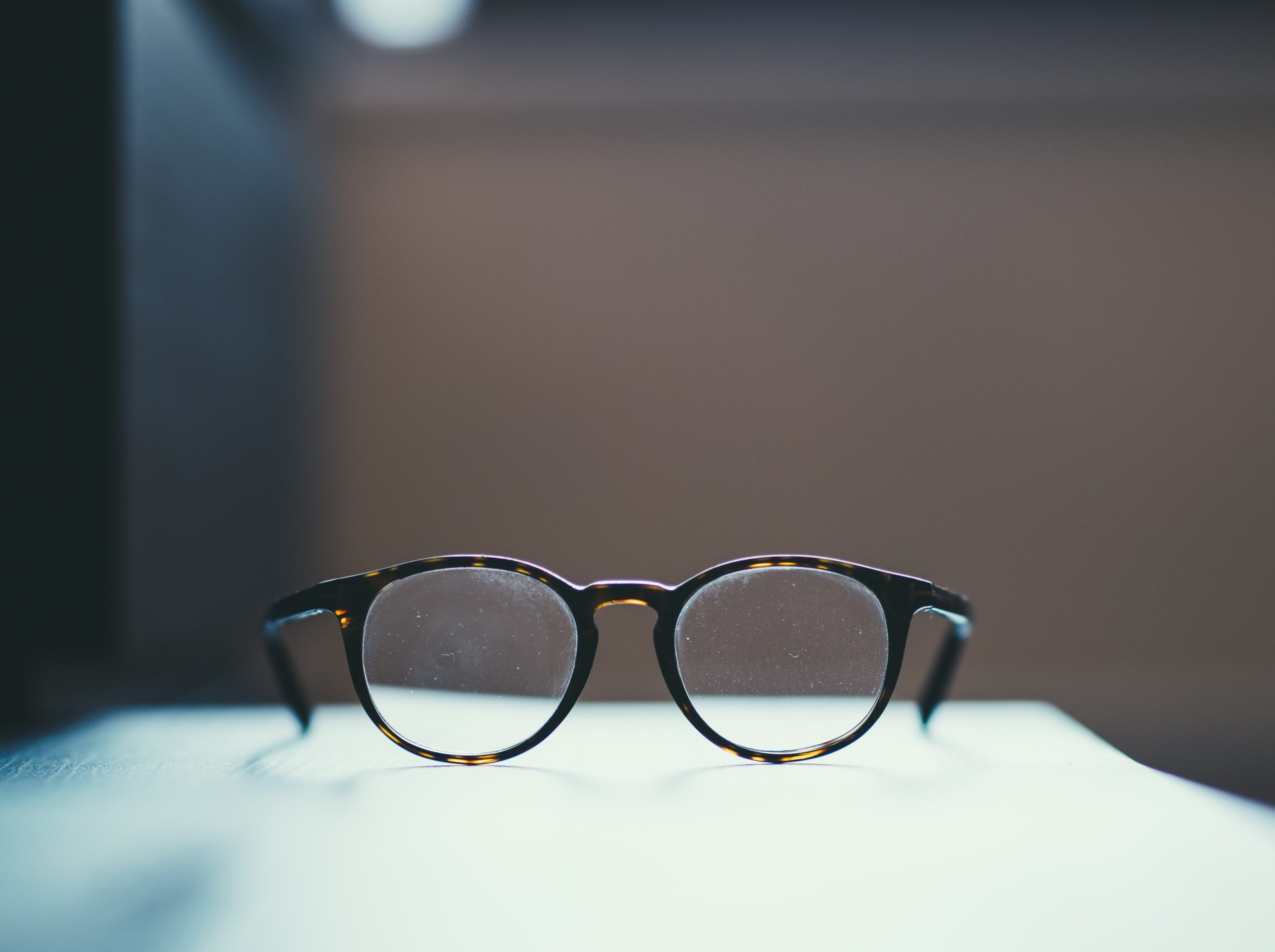 Glasses on a table.