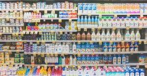 Shelves of products at a grocery store.