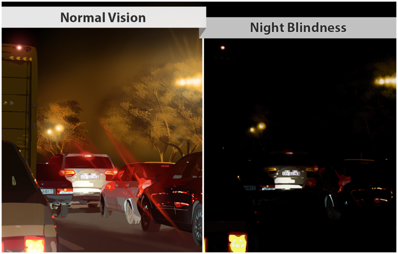 Depiction of vision with night blindness
